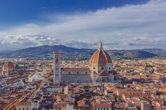 City of Florence, Italy, and Florence Cathedral, at dusk royalty free stock image