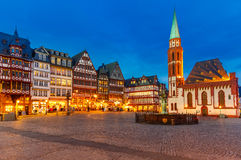 Historic Center of Frankfurt at night Royalty Free Stock Photography