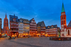 Historic Center of Frankfurt at night Royalty Free Stock Photo