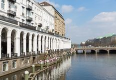 Historic center Hamburg at towncanal Kleine Alster Royalty Free Stock Image