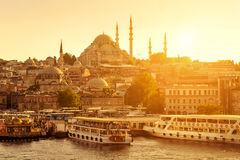 The historic center of Istanbul at sunset Stock Images