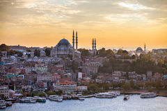 The historic center of Istanbul at sunset. Golden Horn, Turkey. Royalty Free Stock Photos