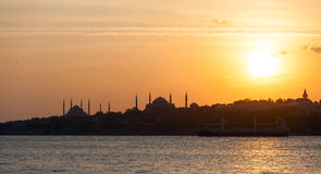 The historic center of Istanbul at sunset. Golden Horn, Turkey. Royalty Free Stock Images
