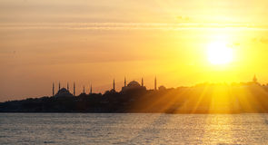 The historic center of Istanbul at sunset. Golden Horn, Turkey. Stock Image
