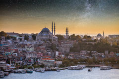 The historic center of Istanbul at sunset. Golden Horn, Turkey. Stock Photo