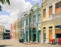 Historic center of Joao Pessoa city. Very old house in the vintage style being restored. Restoration of old house. Royalty Free Stock Images