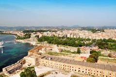 Historic center of Kerkyra town on the island of Corfu Royalty Free Stock Images