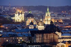 Historic center of Lvov city at night close up Stock Photography
