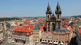 The historic center of Prague. Aerial view over Old Town Square with Tyn cathedral church , Prague, Czech Republic stock video