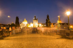 The historic center of Prague, ancient architecture and cultural heritage in the night Royalty Free Stock Images