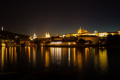 The historic center of Prague, ancient architecture and cultural heritage in the night Royalty Free Stock Photos