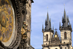 The historic center of Prague, ancient architecture, and cultural heritage/Prague Tower and Astronomical Clock on the Old Town Hal Stock Photo