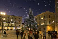 The historic center of Rieti during the Christmas holidays with lights decorations royalty free stock photos