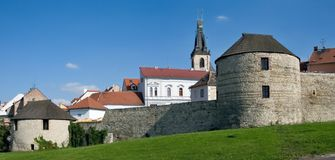 Historic center town Louny. Fortification historic center town Louny, Czech republic Stock Photo