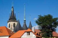 Historic center town Louny. Towers church Saint Nicholas in historic center town Louny, Czech republic Stock Photo