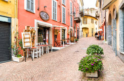 Historic center with typical bars, restaurants and shops in Luino, Italy Stock Photos