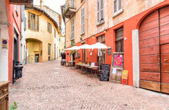 Historic center with typical bars, restaurants and shops in Luino, Italy