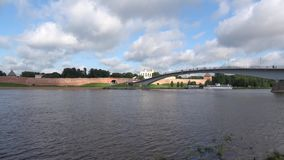 Historic center of Veliky Novgorod city. Under stormy skies stock video footage