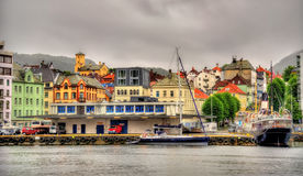 The historic centre of Bergen above Vagen bay Royalty Free Stock Image