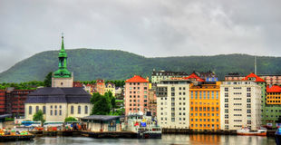The historic centre of Bergen above Vagen bay Royalty Free Stock Photos
