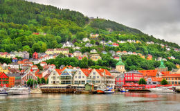 The historic centre of Bergen above Vagen bay Royalty Free Stock Photography