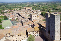 Historic centre of San Gimignano, Tuscany, Italy. Aerial view of the historic centre of San Gimignano, Tuscant, Italy. San Gimignano is a small walled medieval Royalty Free Stock Image