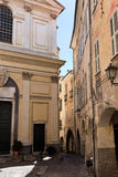 The historic centre of Taggia, Liguria. Medieval church square in old town - Italy stock photo