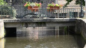 Historic channel of the river Lauter in Wissembourg stock footage