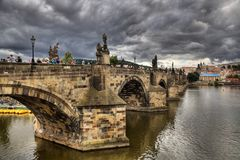 Historic Charles Bridge in Prague Royalty Free Stock Photography