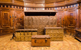 Historic chests in Castel Saint Angelo Rome. Historic chests placed in Castel Saint Angelo Rome Royalty Free Stock Photos