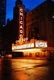 The Historic Chicago Theater. Marquee brightens State Street a rainy night royalty free stock photo