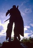 Historic Chief Red Bird. Indian memorial chief Statue in silhouette monument to famous warrior chief Native American or native america Winnebago Tribal Chief Red royalty free stock photography