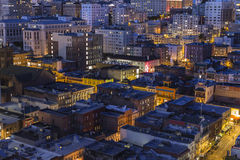 Historic Chinatown Rooftops Downtown San Francisco. SAN FRANCISCO, CALIFORNIA - JAN 13: Night view of historic Chinatown and Nob Hill in tourist friendly San Royalty Free Stock Photo