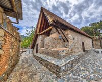 Historic Church of Archangel Michael on Cyprus. CYPRUS, TROODOS MOUNTAINS - MAY 2 2016:  Historic Church of Archangelos Michail or Archangel Michael in village Royalty Free Stock Images
