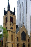Historic church in Chicago downtown Royalty Free Stock Images