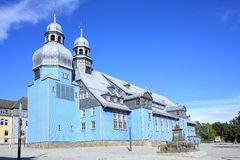 Historic church in Clausthal-Zellerfeld, Germany. Historic church in Clausthal-Zellerfeld, blue wooden structure, Lower Saxony, Germany Stock Photo