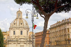 Historic church dome, Rome. One of the 900 churches in the center of Rome, Italy stock photo