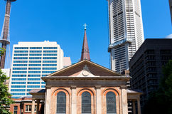 Historic Church and Modern High Rises in Sydney Royalty Free Stock Photography