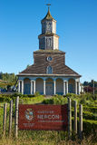 Historic Church of Nercon on Chiloé Island Stock Images