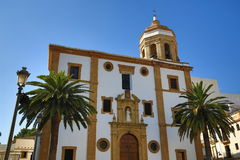 Historic church at the Plaza del Socorro in the old town of Ronda. Andadalusia, Spain Stock Photography
