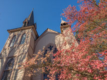 Historic church in spring. Historic Presbyterian Church in Jacksonville Oregon with steeple in spring blooming pink dogwood blossoms Royalty Free Stock Image
