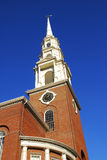 Historic Church Steeple. Historic Park Street Church along the Freedom Trail near Boston Common, Massachusetts, MA Royalty Free Stock Images