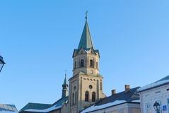 Historic church tower. In Sanok, Poland royalty free stock images