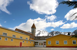 Historic church from Ushuaia. Mountains behind Royalty Free Stock Photography