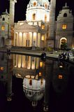 Historic church in Vienna reflected in lake water Stock Image