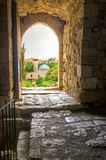 Historic city of Byblos, Lebanon. The historic city of  Byblos in Lebanon viewed from the gate entrance of the crusaders' castle. A view of the mosque and the Royalty Free Stock Photo