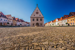Historic city center of Bardejov with town hall Stock Photo