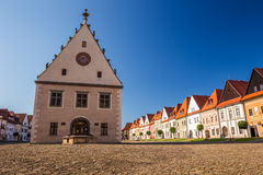 Historic city center of Bardejov with town hall Royalty Free Stock Images