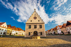 Historic city center of Bardejov with town hall. Stock Photos