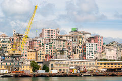 Historic city center of Genoa seen from the sea Stock Image